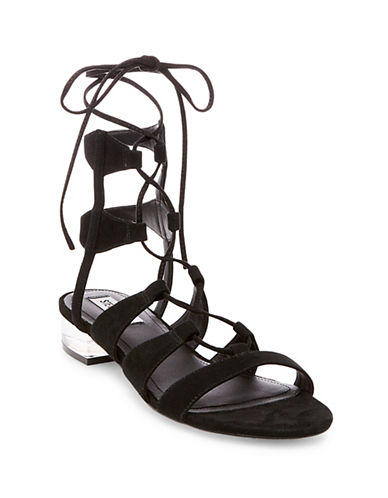 Steve Madden Chely Microsuede Sandals-BLACK-8.5