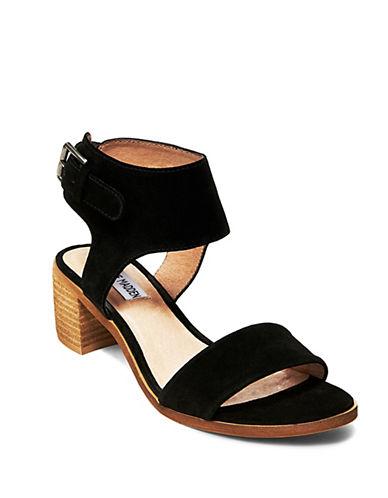 Steve Madden Ranger Suede Block Heel Sandals-BLACK-6.5