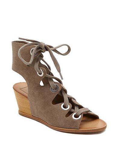 Dolce Vita Lei Suede Wedge Heel Sandals-BEIGE-9.5