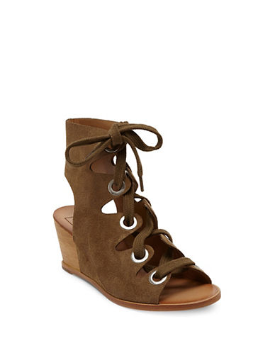 Dolce Vita Lei Suede Wedge Heel Sandals-OLIVE-8.5