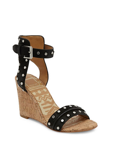 Dolce Vita Dante Studded Leather Cork Wedge Sandals-BLACK-6