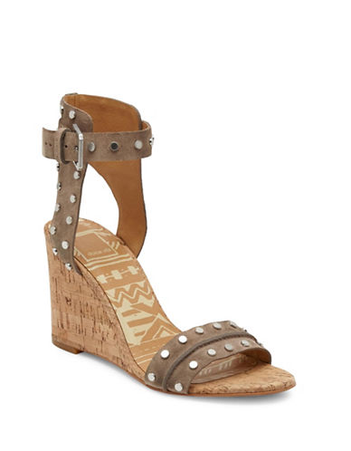 Dolce Vita Dante Studded Leather Cork Wedge Sandals-TAUPE-9.5