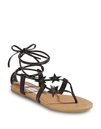 Steve Madden Jupiter Tie Sandals-BLACK-6.5