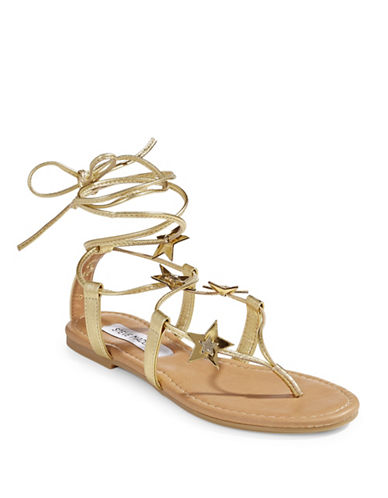 Steve Madden Jupiter Tie Sandals-GOLD-5.5