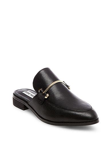 Steve Madden Laaura Suede Loafer Slides-BLACK-6.5