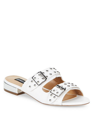 Design Lab Lord & Taylor Punk Studded Slip-On Sandals-WHITE-7