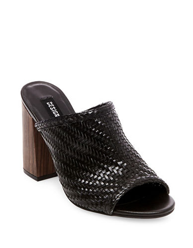 Design Lab Lord & Taylor Open Toe Woven Mules-BLACK-7.5