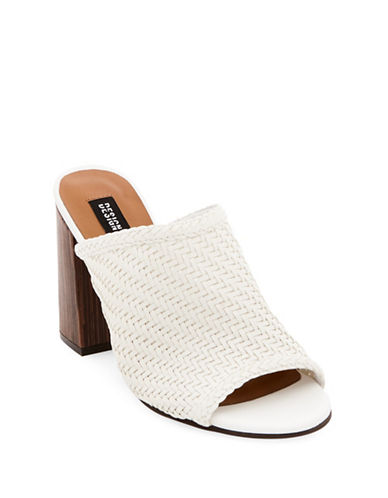 Design Lab Lord & Taylor Open Toe Woven Mules-WHITE-8.5