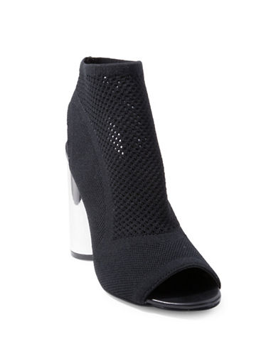 Design Lab Lord & Taylor Unia Mesh Peep-Toe Booties-BLACK-9