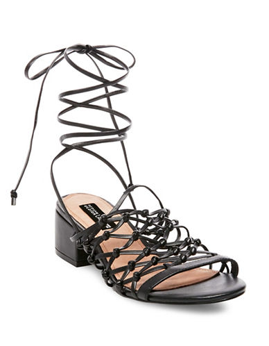 Design Lab Lord & Taylor Mya Lace-Up Sandals-BLACK-6