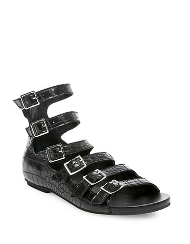 Design Lab Lord & Taylor Ameli Croc-Embossed Gladiator Sandals-BLACK-9