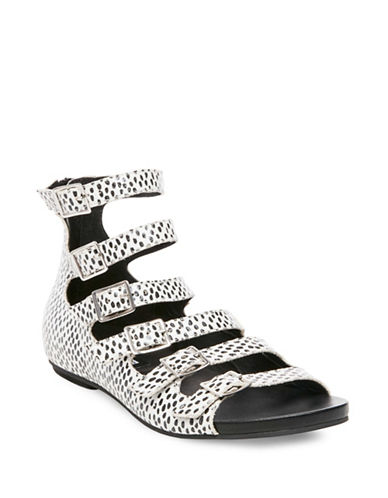 Design Lab Lord & Taylor Ameli Croc-Embossed Gladiator Sandals-BLACK MULTI-5