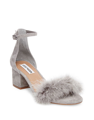 Steve Madden Imelda Suede Pom-Pom Sandals-GREY-7.5