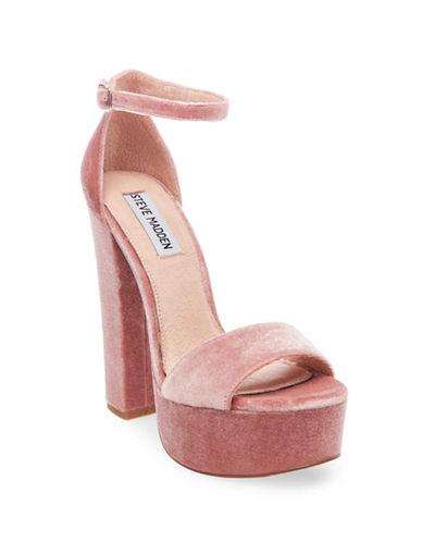 Steve Madden Gonzov Velvet Platform Sandals-BLUSH-9.5