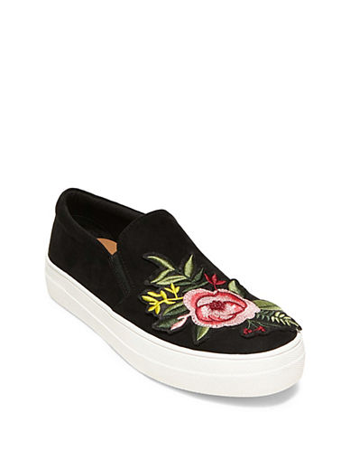 Steve Madden Garden Embroidered Slip-On Sneakers-BLACK-7.5