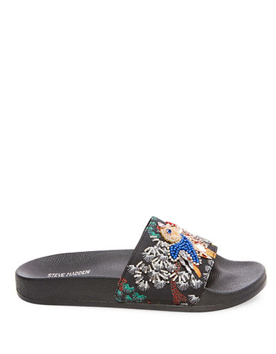 Steve Madden Sparkly Beaded Slide Sandals-BLACK-8