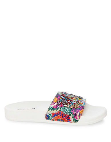 Steve Madden Sparkly Beaded Slide Sandals-WHITE-8