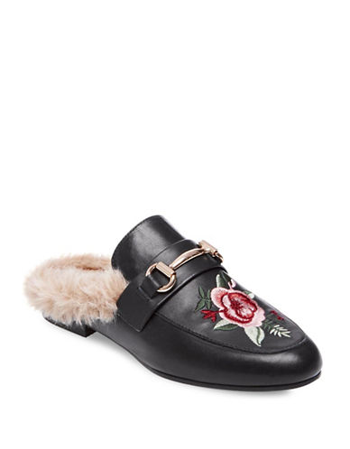 Steve Madden Faux-Fur and Leather Mules-BLACK-8.5