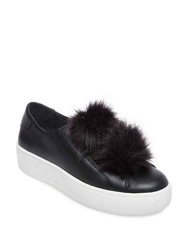 Steve Madden Furlie Pom-Pom Platform Sneakers-BLACK-9.5