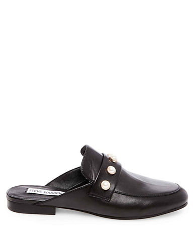 Steve Madden Kandi-P Leather Slides-BLACK-7.5