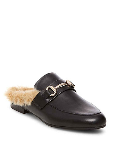 Steve Madden Jill Faux Fur Leather Slides-BLACK-7.5