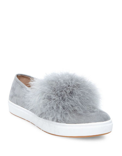 Steve Madden Emily Micro Suede Slip-On Sneakers-GREY-7.5