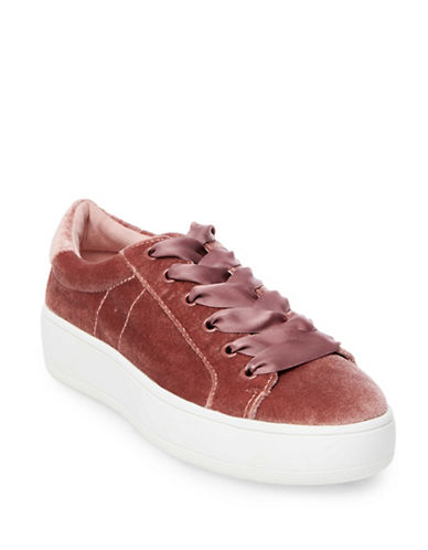Steve Madden Bertie Velvet Platform Sneakers-BLUSH-5.5
