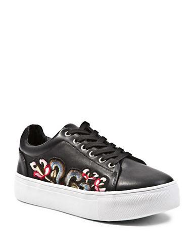 Steve Madden Davina Embroidered Flatform Sneakers-BLACK-EUR 39/US 9