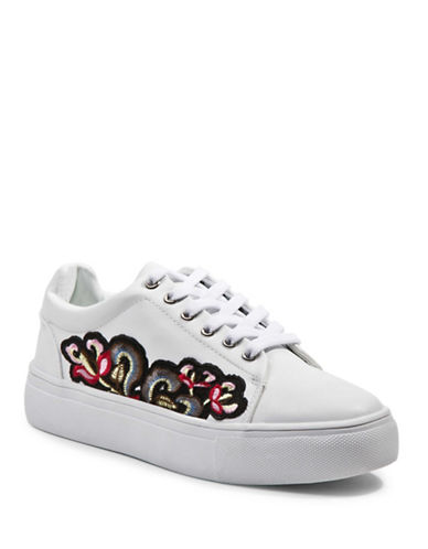 Steve Madden Davina Embroidered Flatform Sneakers-WHITE-EUR 39/US 9