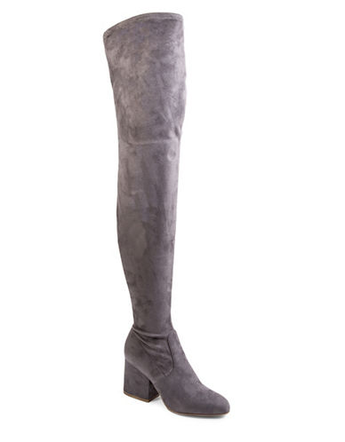 Steve Madden Block Heel Over-the-Knee Boots-GREY-5.5