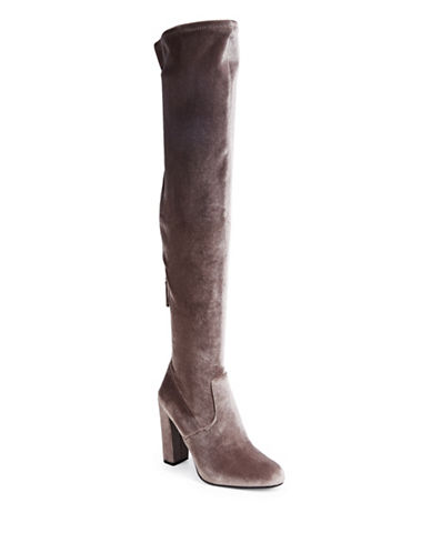 Steve Madden Emotion Velvet Over-the-Knee Boots-TAUPE-9