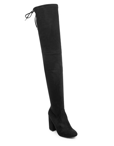 Steve Madden Over-the-Knee Microsuede Boots-BLACK-10