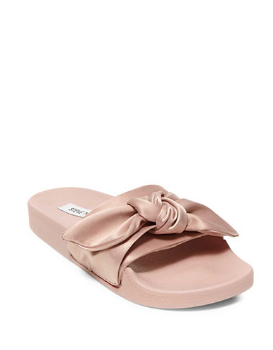 Steve Madden Silky Knotted Slide Sandals-PINK-8