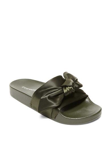 Steve Madden Silky Knotted Slide Sandals-GREEN-7