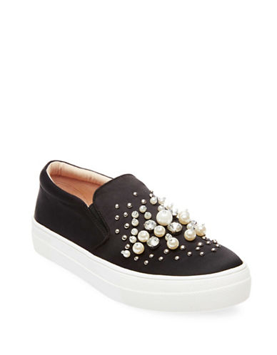 Steve Madden Glamour Beaded Slip-On Sneakers-BLACK-10