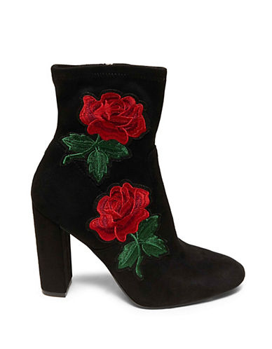 Steve Madden Edition Floral Leather Booties-BLACK-8