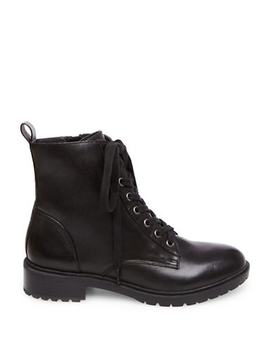 Steve Madden Officer Leather Combat Boots-BLACK-9.5