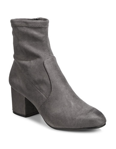 Steve Madden Irven Microsuede Ankle Boots-GREY-6.5