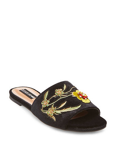 Design Lab Lord & Taylor Fleur Embroidered Slide Sandals-BLACK-9