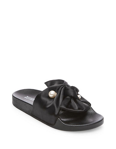 Design Lab Lord & Taylor Notit Beaded Sash Slide Sandals-BLACK-8