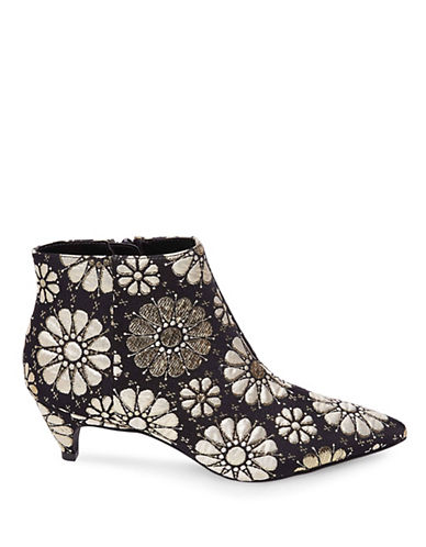 Design Lab Lord & Taylor Floral Brocade Kitten Heel Booties-BLACK/GOLD-6