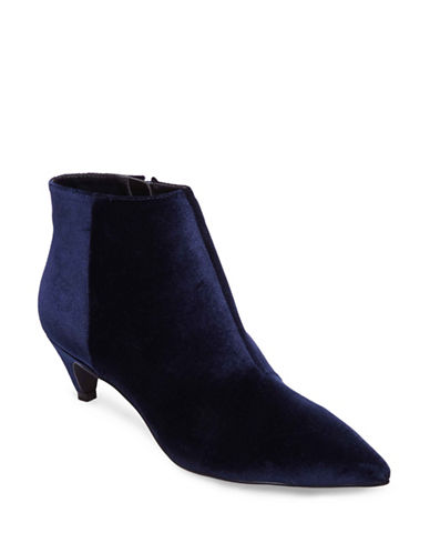 Design Lab Lord & Taylor Velvet Kitten Heel Booties-NAVY VELVET-7