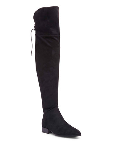 Design Lab Lord & Taylor Stretch Over-the-Knee Boots-BLACK SUEDE-8.5
