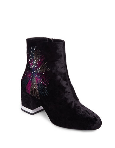 Design Lab Lord & Taylor Embroidered Velvet Booties-BLACK VELVET-7.5