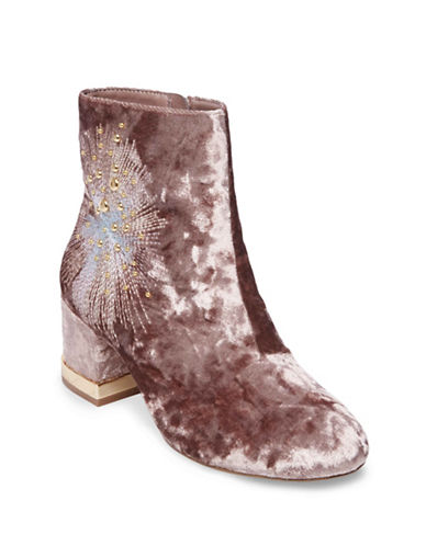 Design Lab Lord & Taylor Embroidered Velvet Booties-BLUSH-9.5
