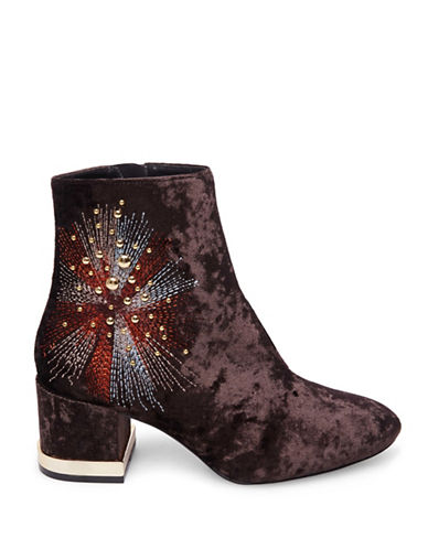 Design Lab Lord & Taylor Embroidered Velvet Booties-BROWN VELVET-8.5