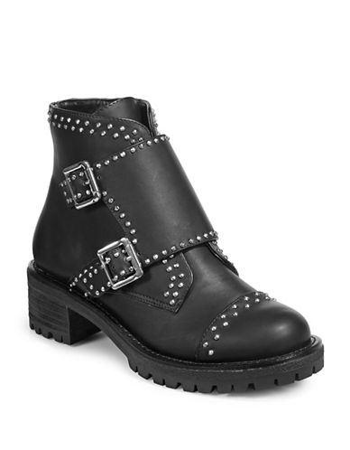 Design Lab Lord & Taylor Studded Moto Boots-BLACK-8