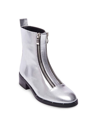 Design Lab Lord & Taylor Double Zipper Booties-SILVER-9.5