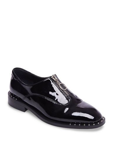 Design Lab Lord & Taylor Womens Front Zipper Loafers with Welt-BLACK-7