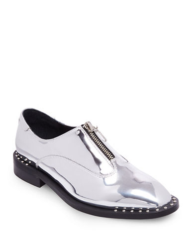 Design Lab Lord & Taylor Womens Front Zipper Loafers with Welt-SILVER-7.5